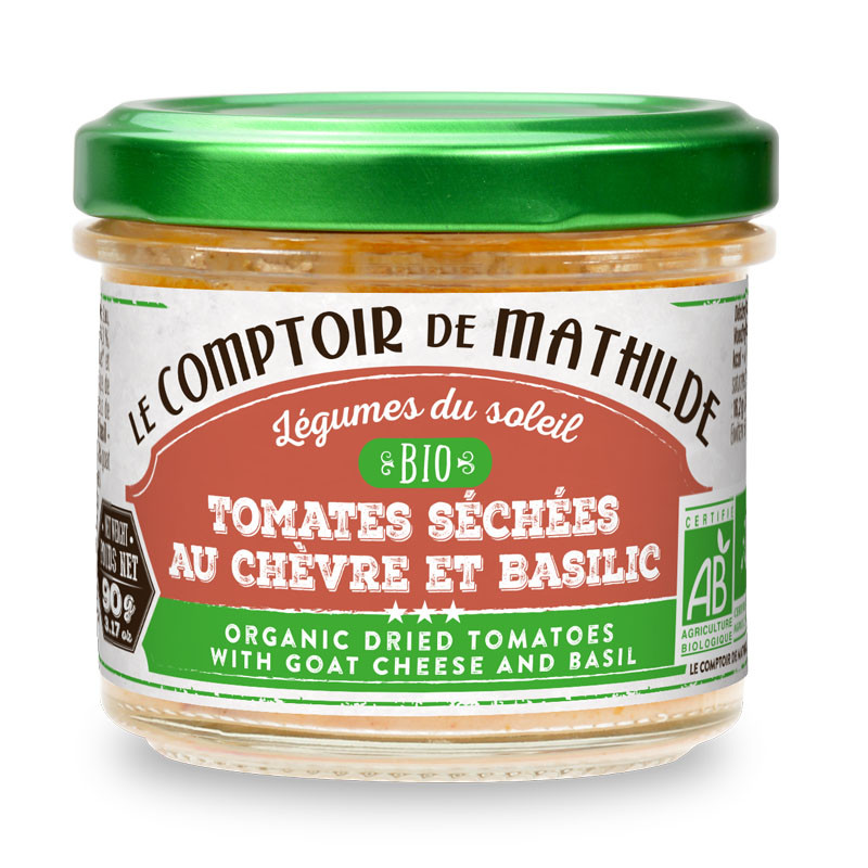 Bio pomazánka se sušenými rajčat, kozím sýrem a bazalkou